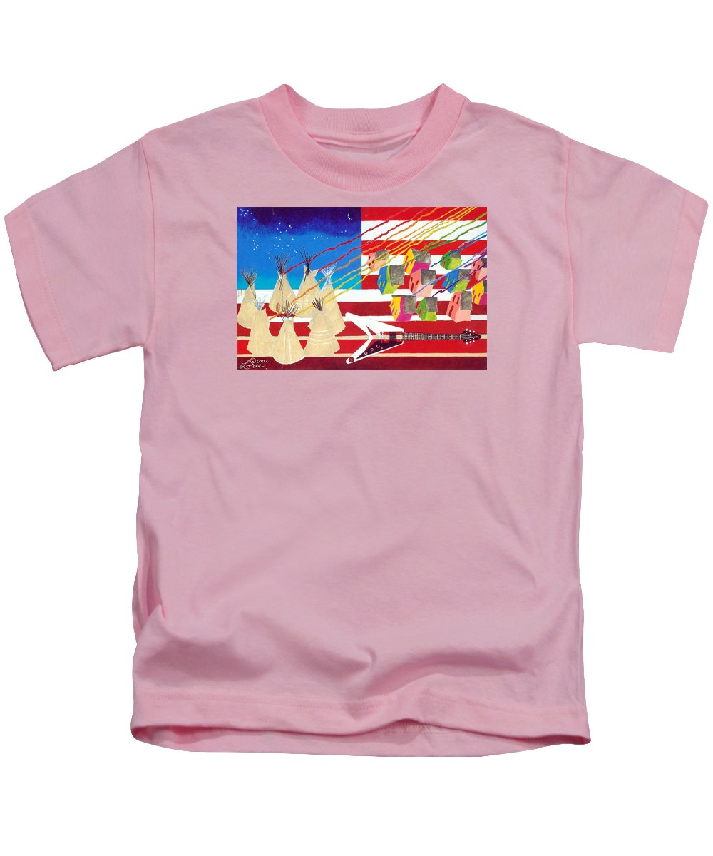 American Flag Kids T-Shirt featuring the painting Woodstock Nation by Sharron Loree