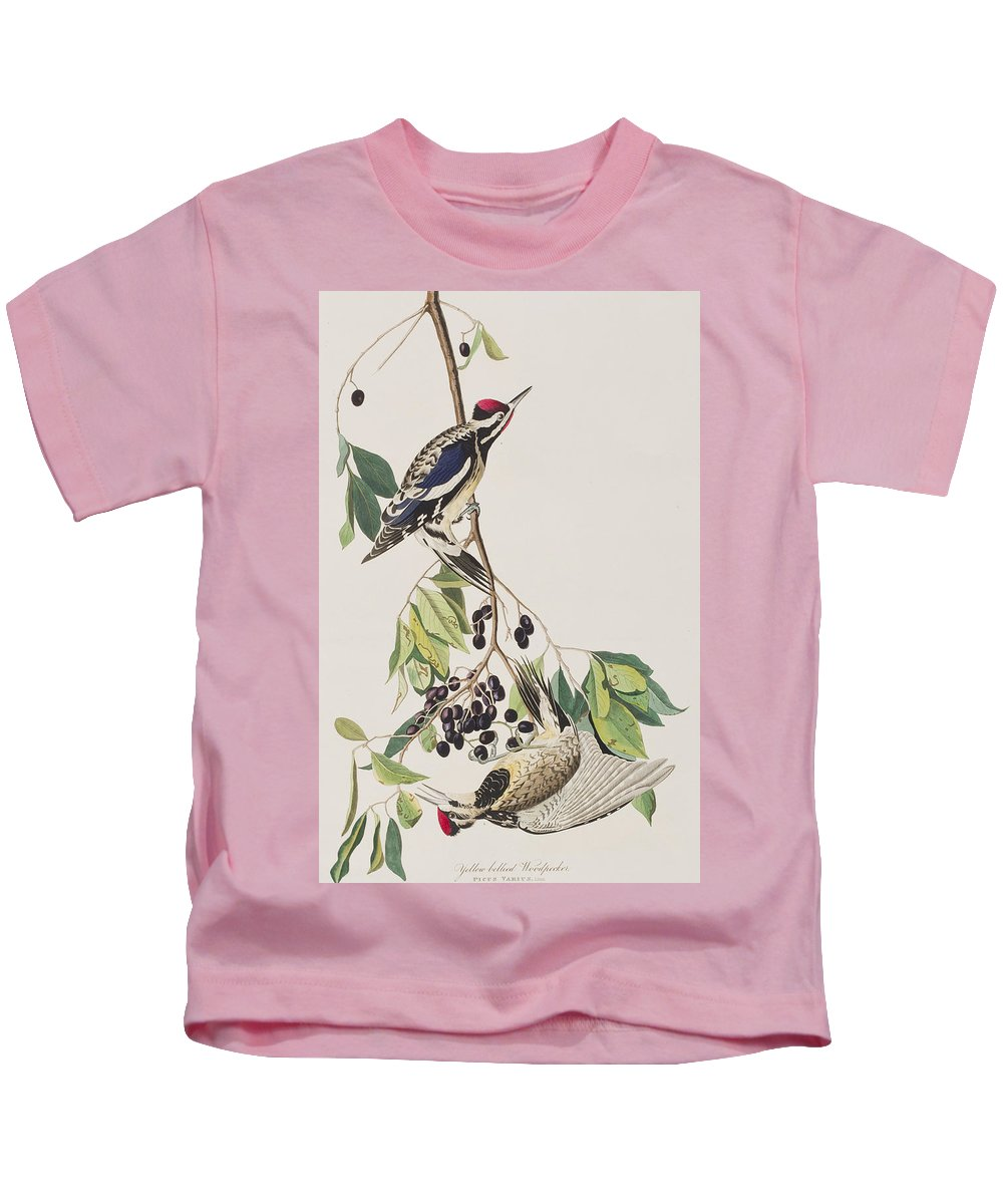 Woodpecker Kids T-Shirt featuring the painting Yellow Bellied Woodpecker by John James Audubon