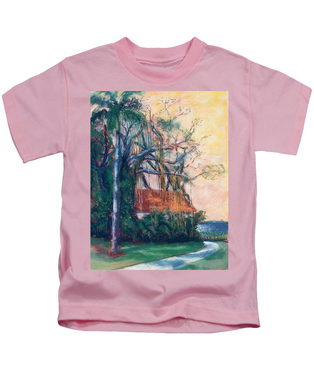 Edison Kids T-Shirt featuring the painting Yellow Sky At Edison Winter Estate by Laurie Paci