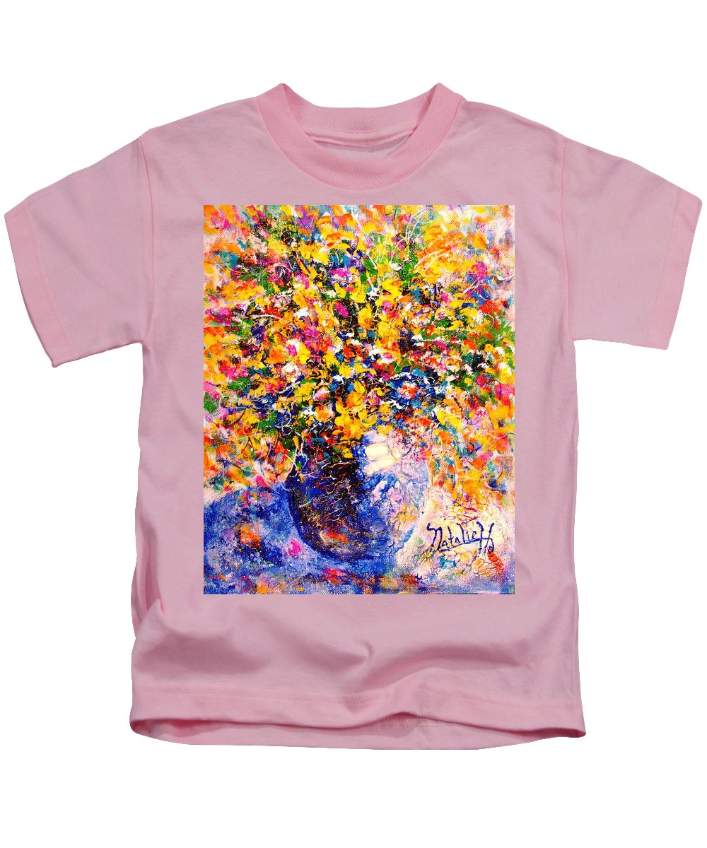 Flowers Kids T-Shirt featuring the painting Yellow Sunshine by Natalie Holland
