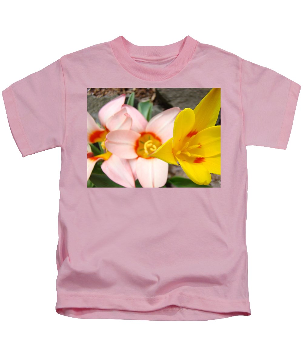 Tulip Kids T-Shirt featuring the photograph Yellow Tulips Art Prints Pink Tulips Spring Florals Baslee Troutman by Baslee Troutman