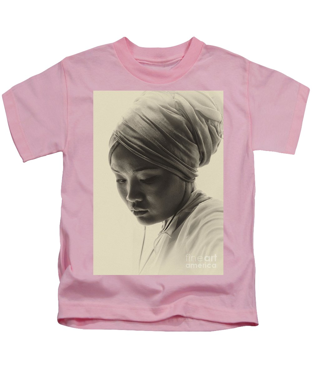 Young Woman Kids T-Shirt featuring the photograph Young woman in turban by Sheila Smart Fine Art Photography