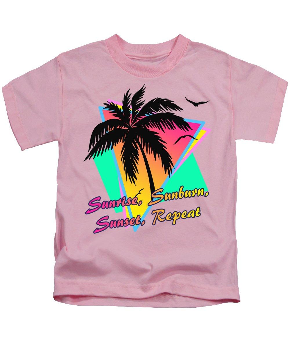 Sunset Kids T-Shirt featuring the digital art Sunrise Sunburn Sunset Repeat by Filip Hellman