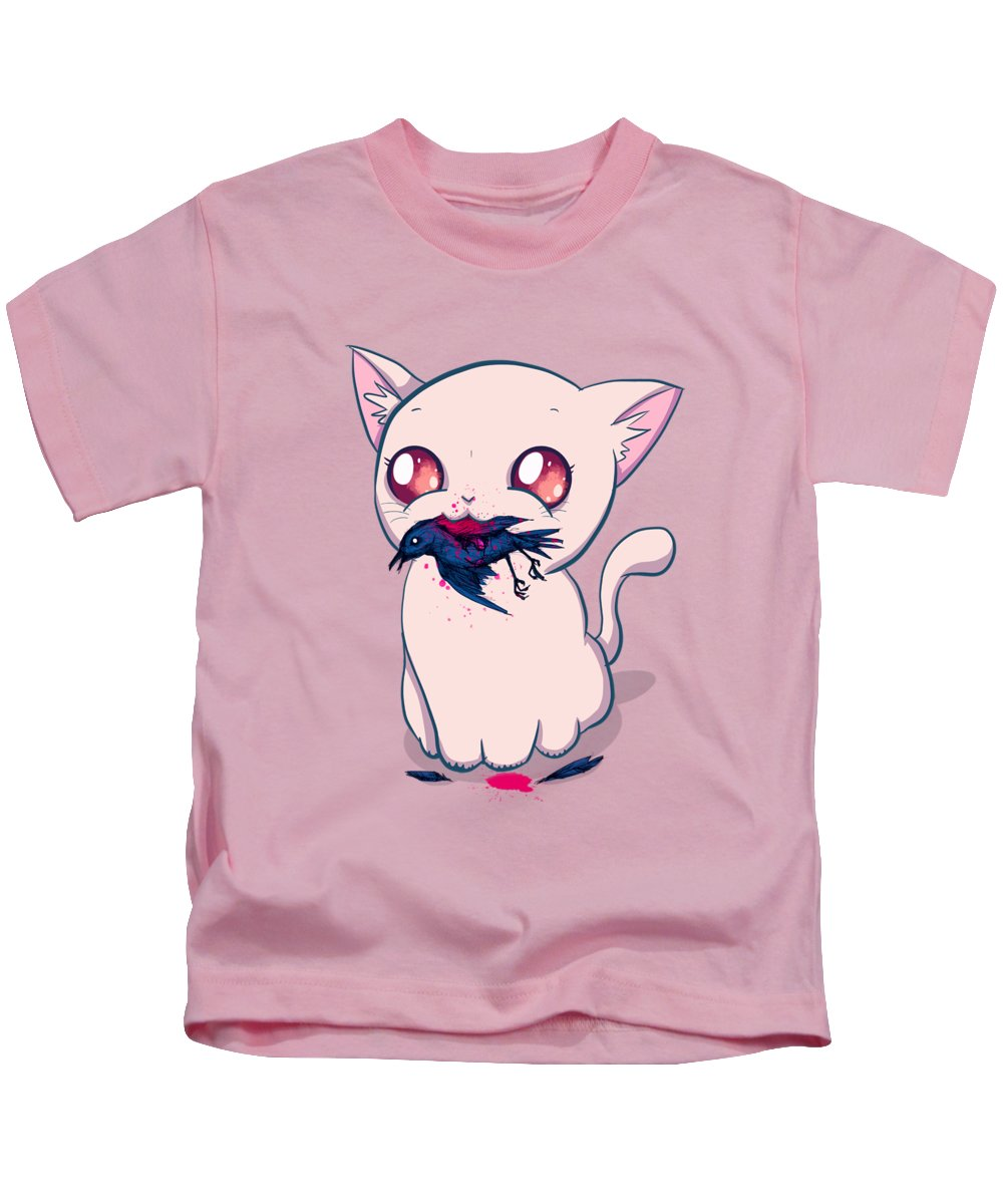 Cat Kids T-Shirt featuring the drawing A Present by Ludwig Van Bacon