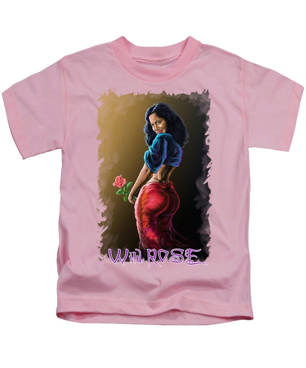Kenya Kids T-Shirt featuring the painting Wild Rose by Anthony Mwangi