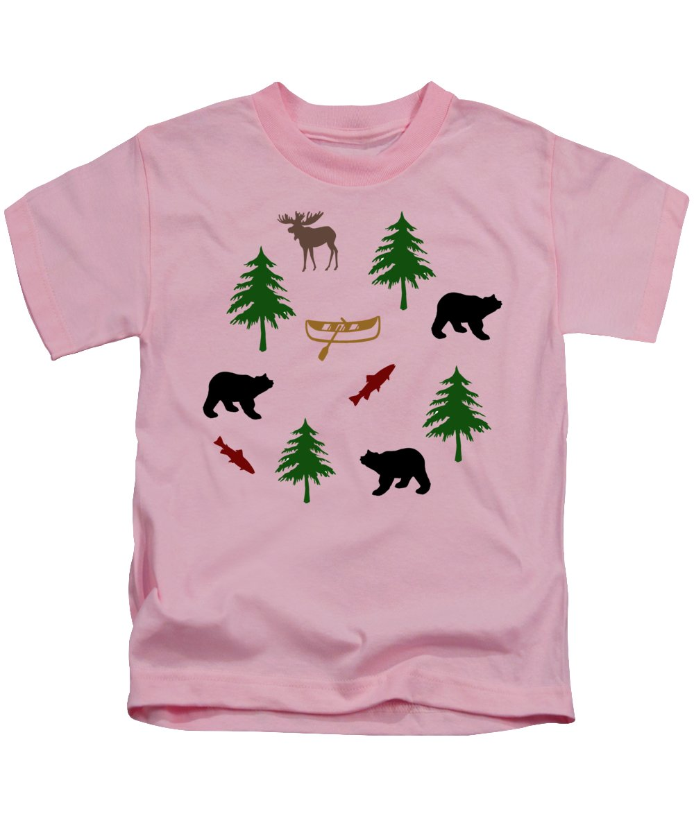 Bear Kids T-Shirt featuring the mixed media Bear Moose Pattern by Christina Rollo