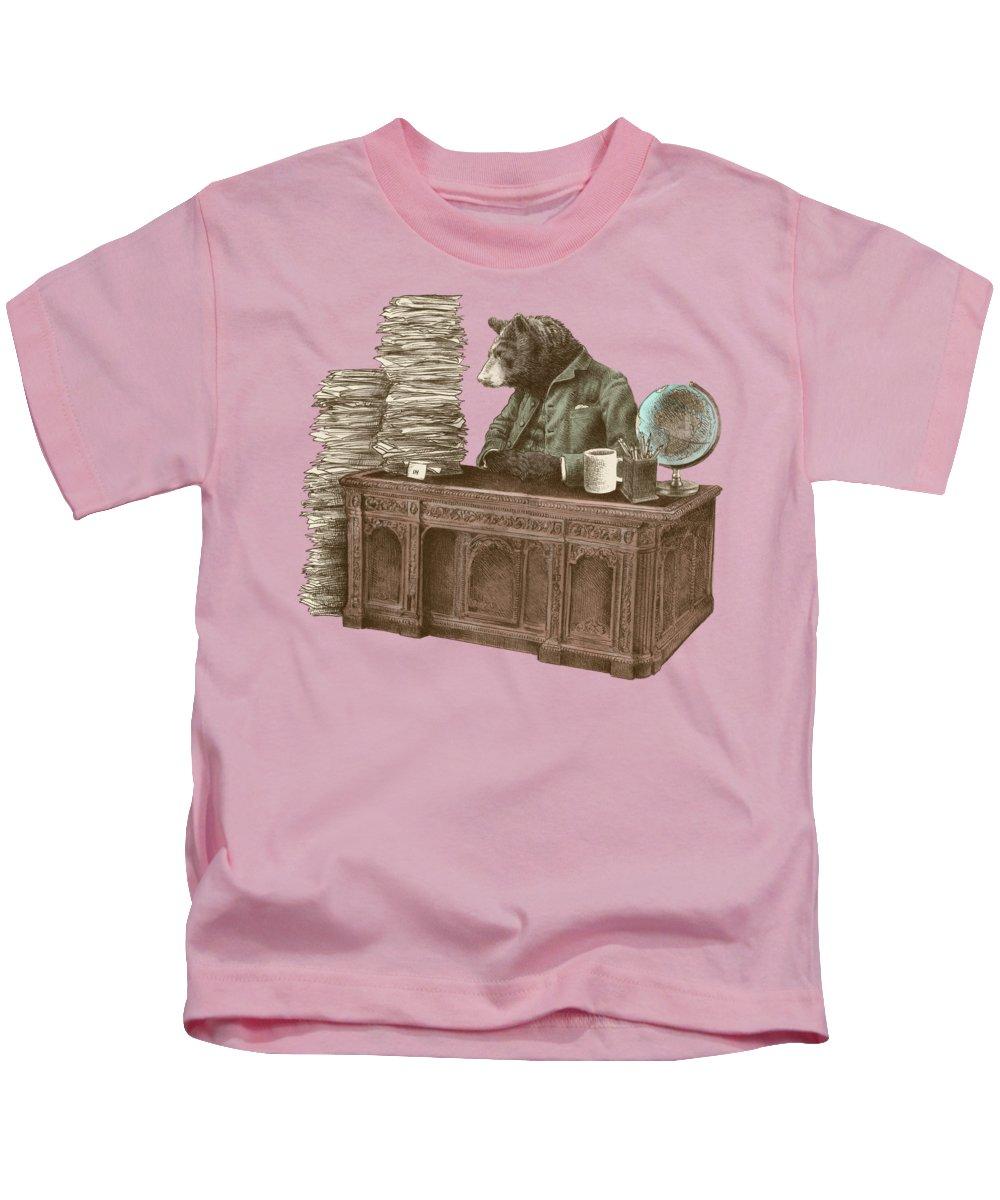 Bureaucrat Kids T-Shirt featuring the drawing Bearocrat by Eric Fan