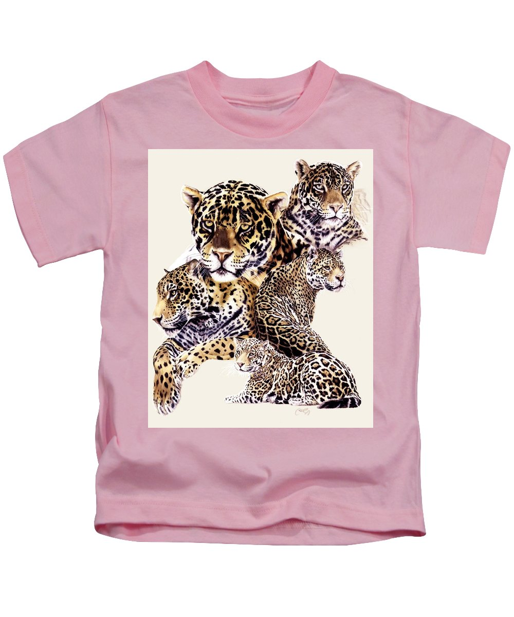 Jaguar Kids T-Shirt featuring the drawing Burn by Barbara Keith