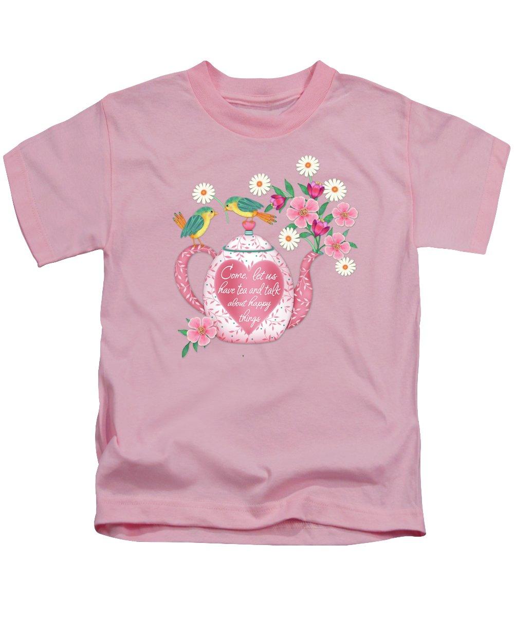 Teapot Kids T-Shirt featuring the digital art Come Let Us Have Tea by Valerie Drake Lesiak