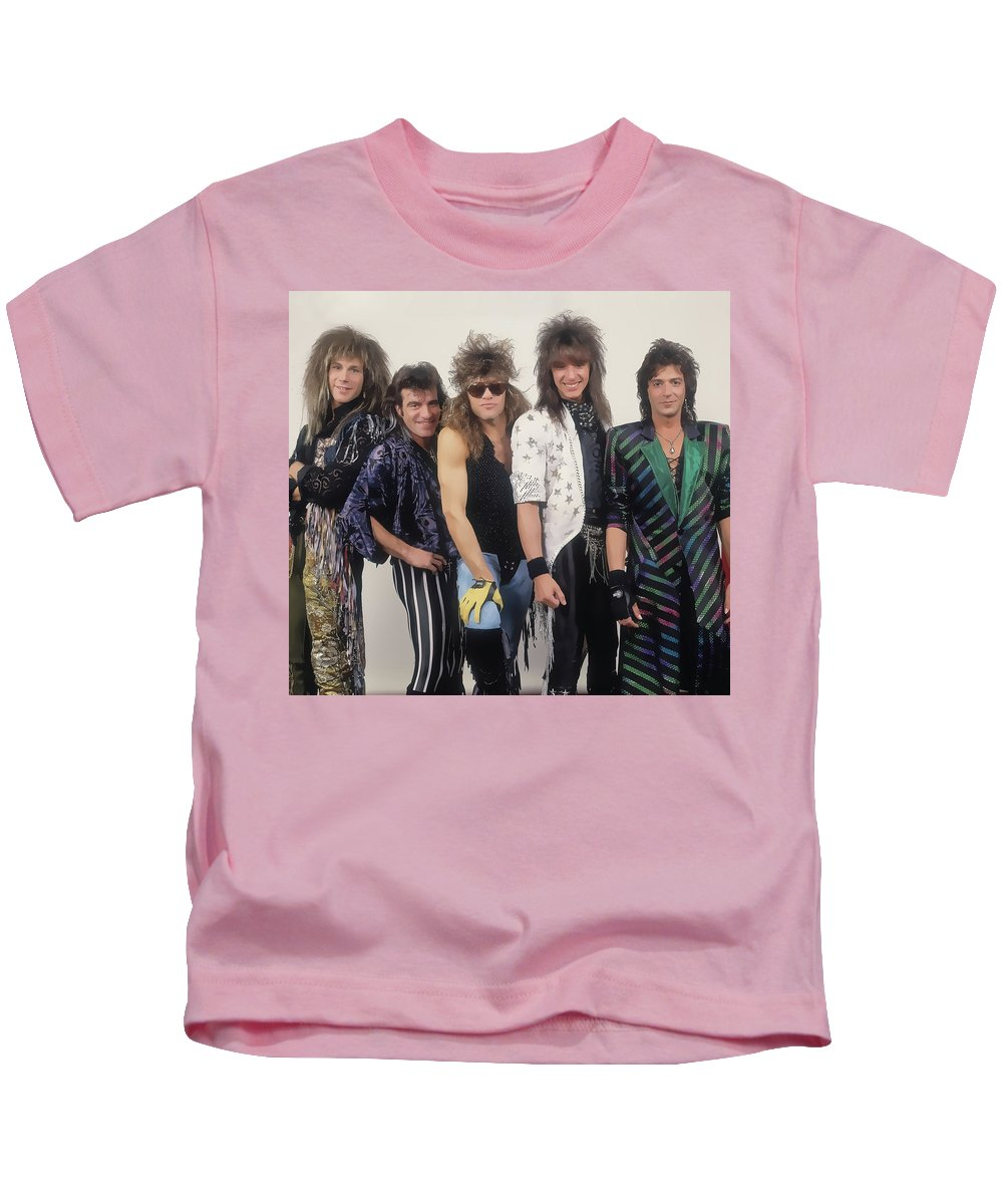 Music Kids T-Shirt featuring the painting Early Bon Jovi Rock Band by Elaine Plesser