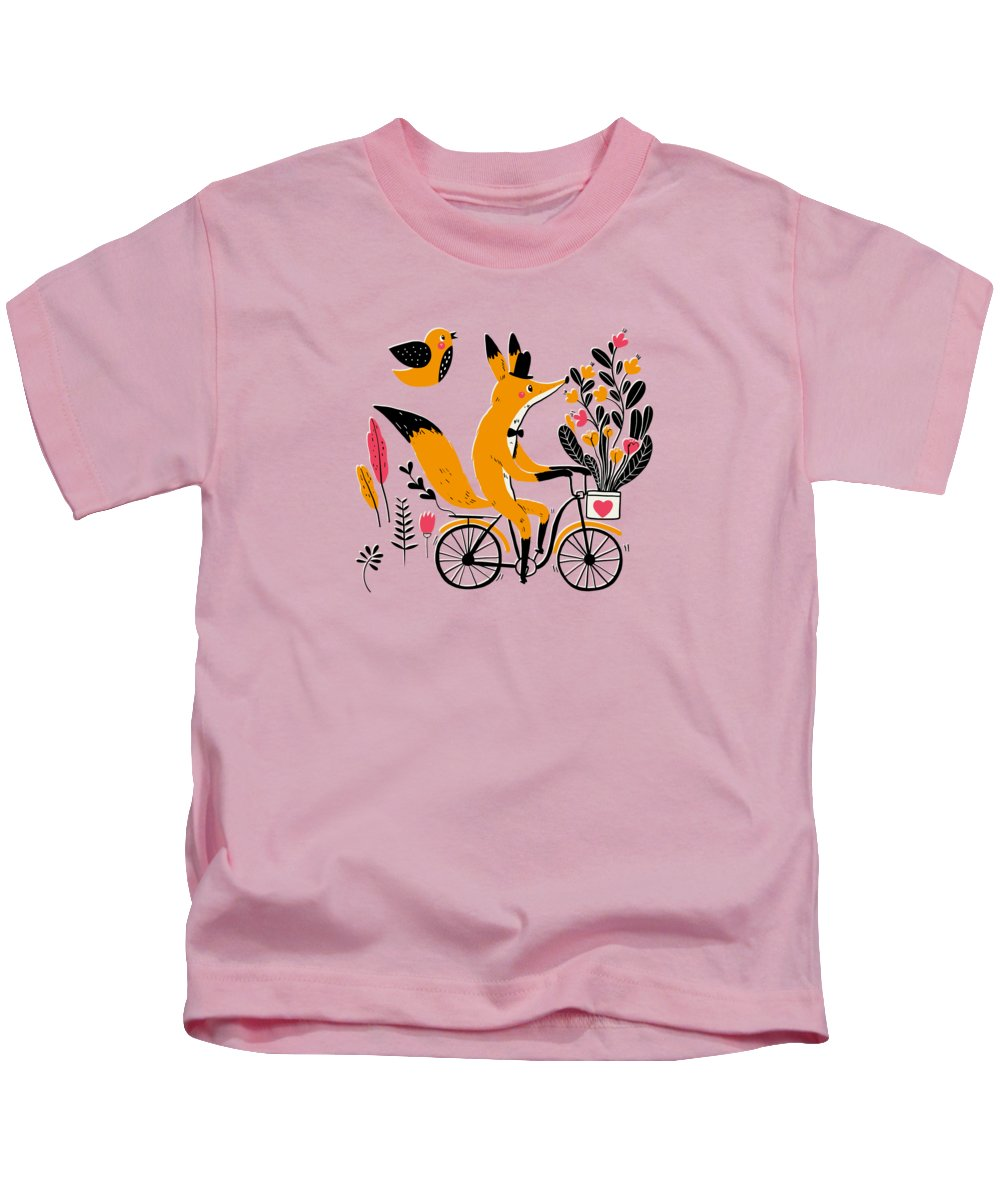 Painting Kids T-Shirt featuring the painting Fancy Mister Foxly Meets A Feathered Friend by Little Bunny Sunshine