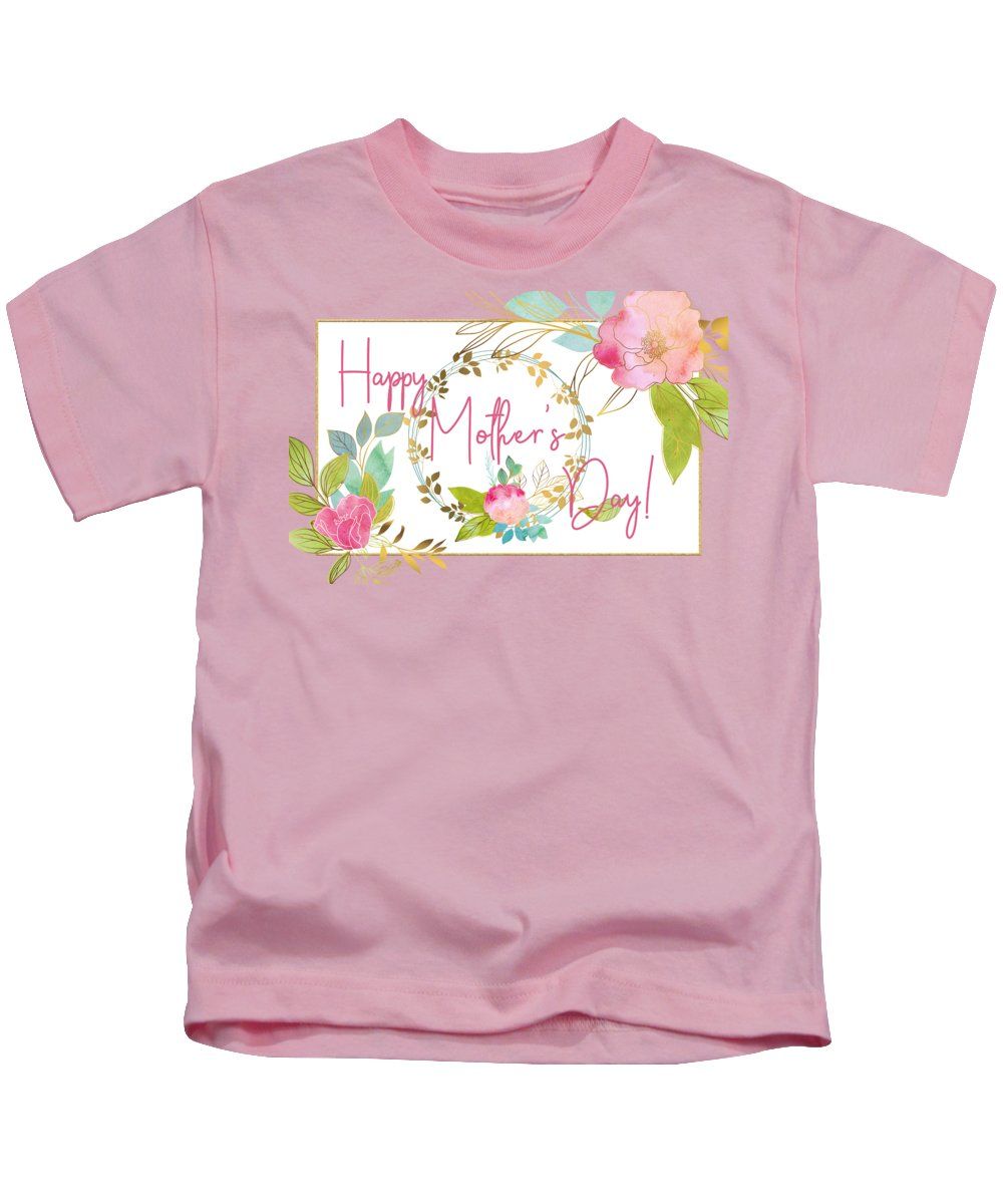 Mother's Day Kids T-Shirt featuring the digital art Floral Mother's Day Art by Anita Pollak