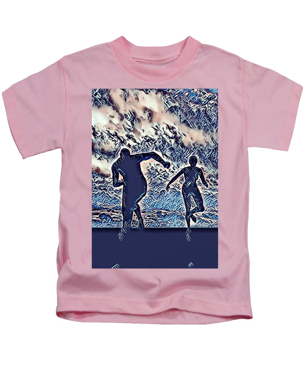 Man Kids T-Shirt featuring the painting Man And Woman Running by Jeelan Clark