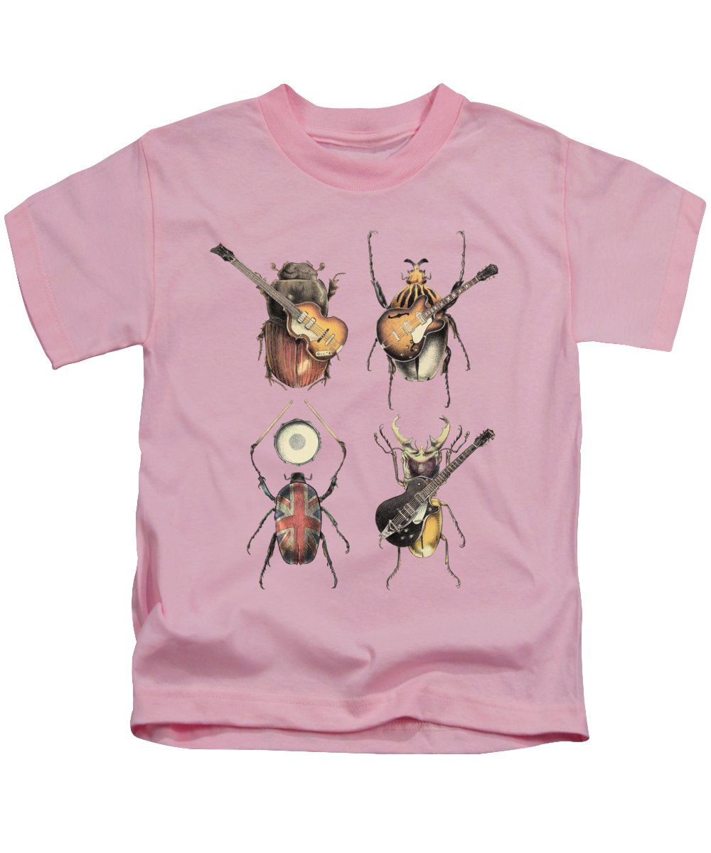 Beatles Kids T-Shirt featuring the digital art Meet The Beetles by Eric Fan