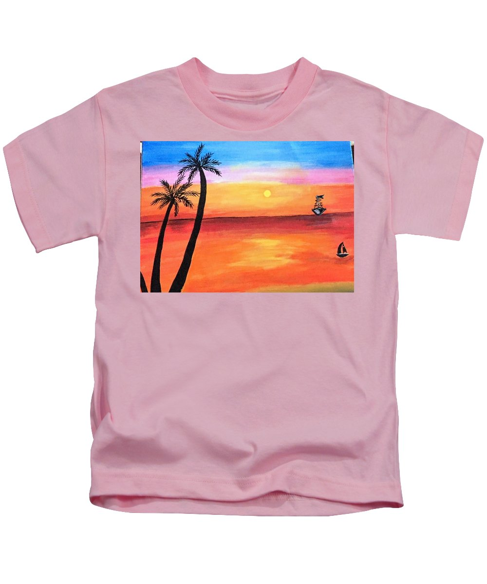 Canvas Kids T-Shirt featuring the painting Scenary by Aswini Moraikat Surendran