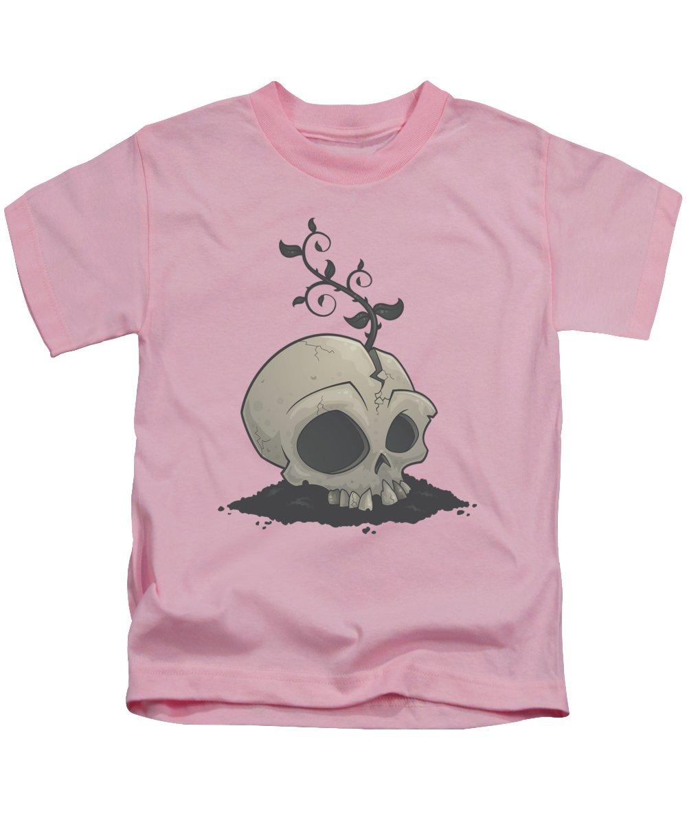 Sapling Kids T-Shirt featuring the digital art Skull Garden by John Schwegel