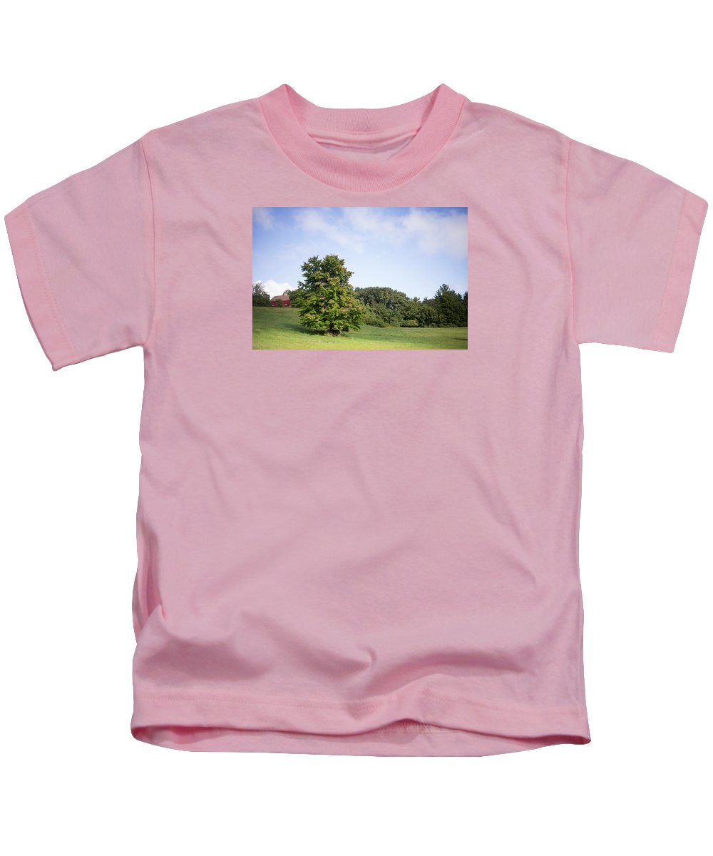 Landscape Kids T-Shirt featuring the photograph The Beginning Of Autumn by Black Crow Landing
