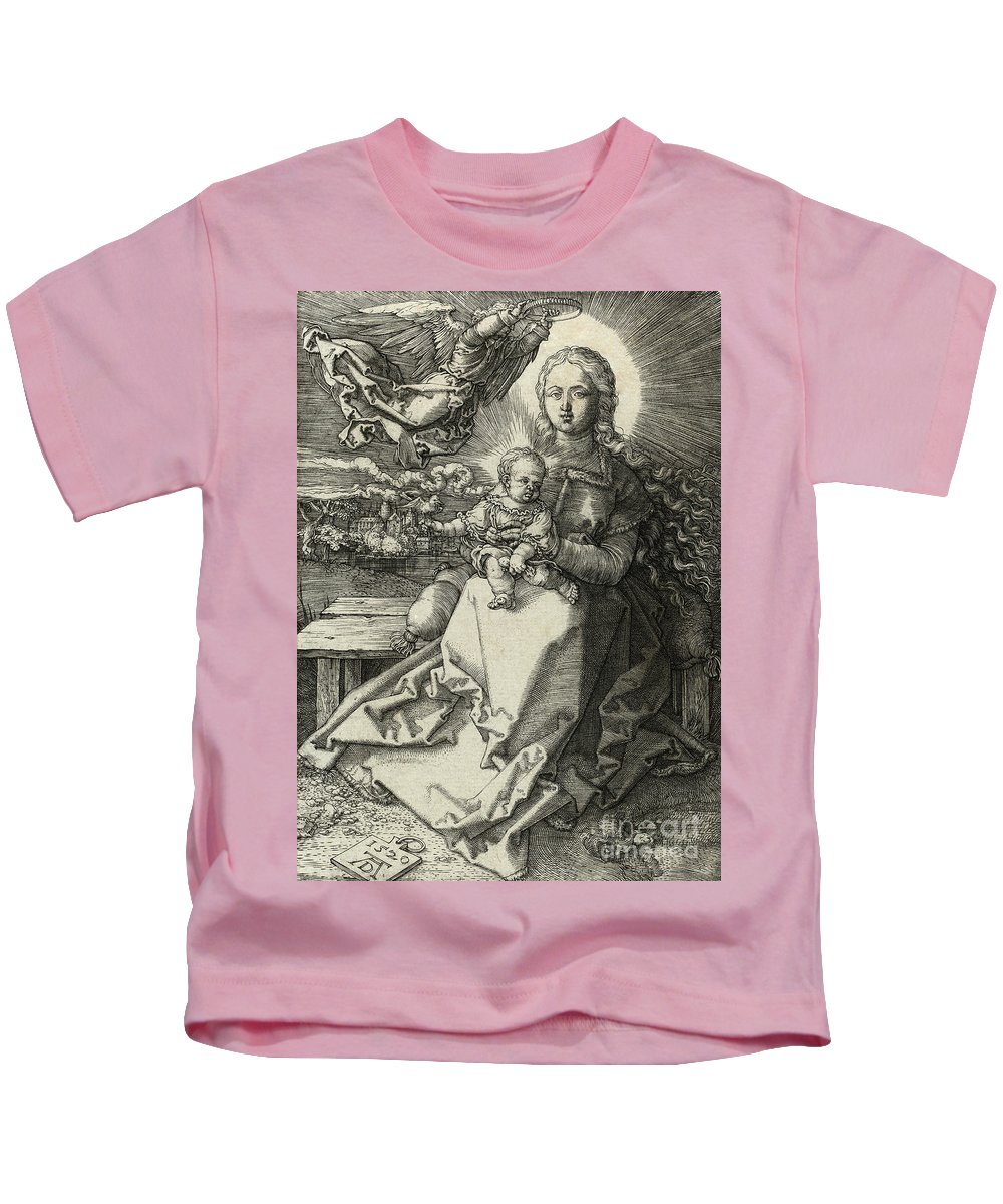Durer Kids T-Shirt featuring the drawing The Madonna Crowned By An Angel, 1520 by Albrecht Durer