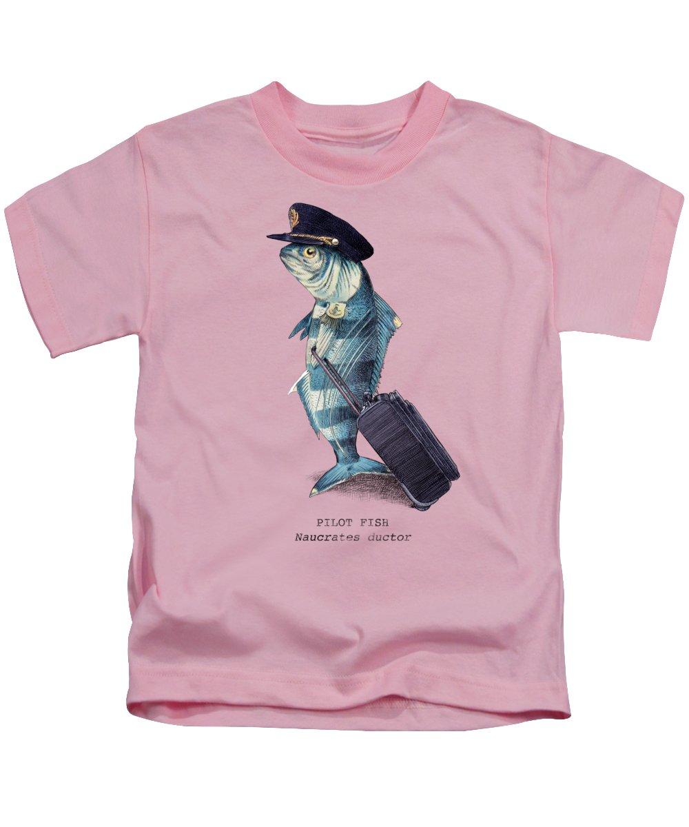 Pilot Kids T-Shirt featuring the digital art The Pilot by Eric Fan