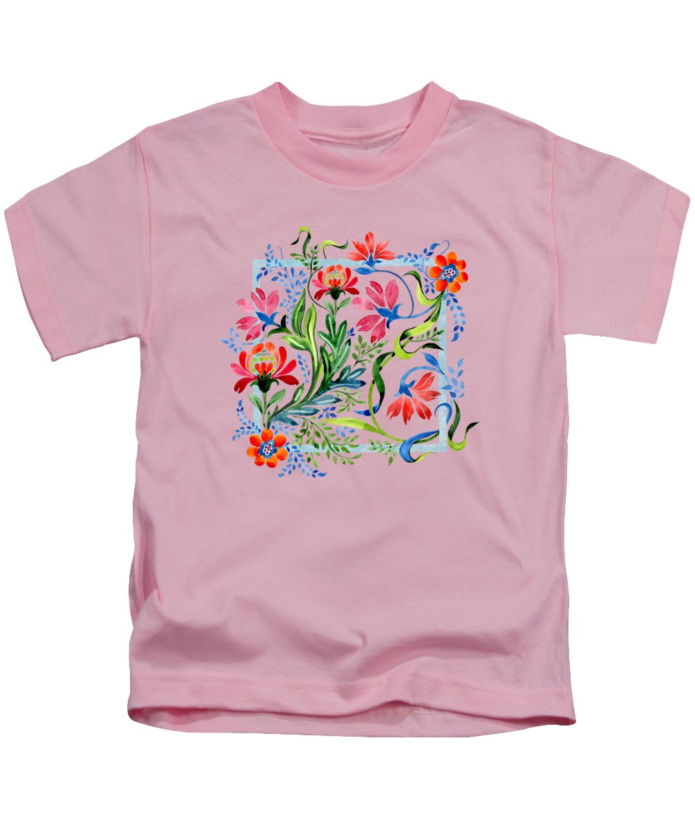 Painting Kids T-Shirt featuring the painting Watercolor Garden Folk Floral In Vintage Style by Little Bunny Sunshine