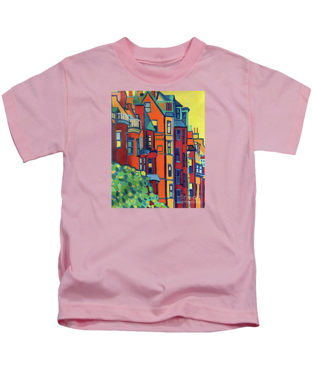 Architecture Kids T-Shirt featuring the painting Beacon Street Back Bay Boston by Debra Bretton Robinson