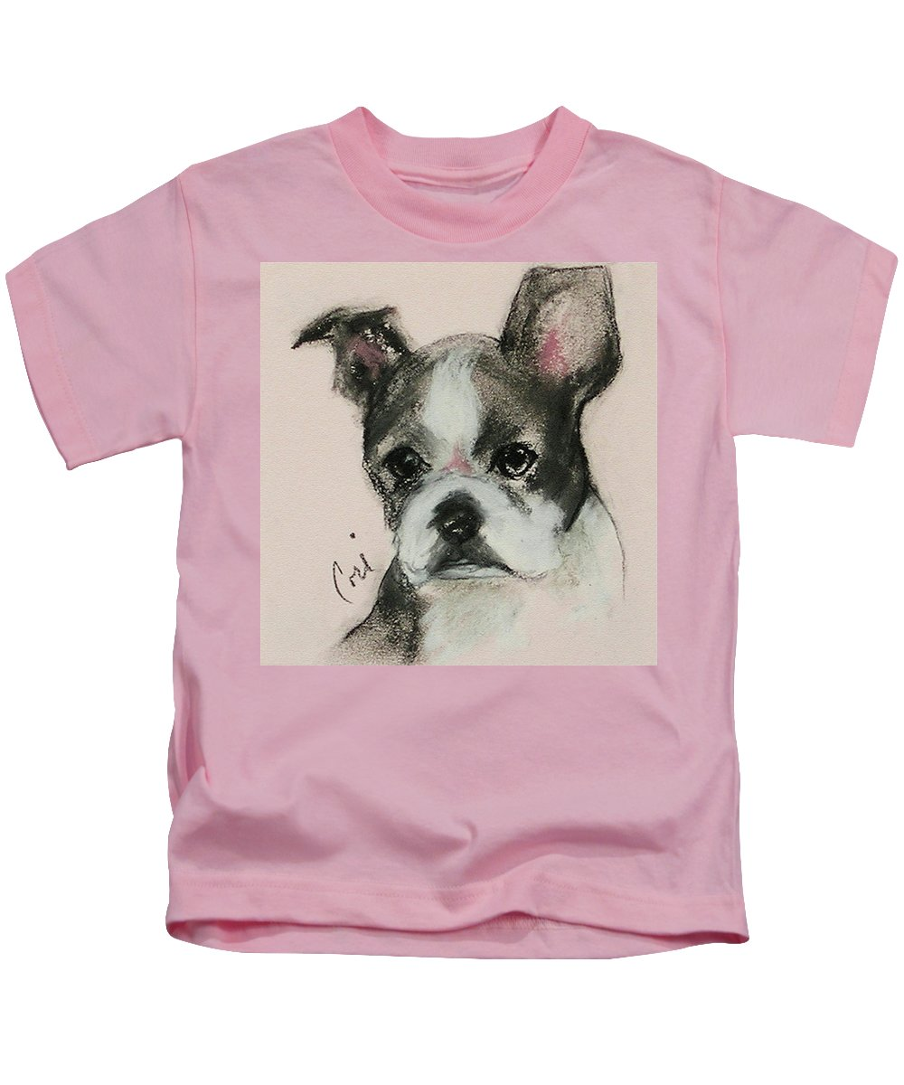 Pastel Kids T-Shirt featuring the drawing Bostonian by Cori Solomon