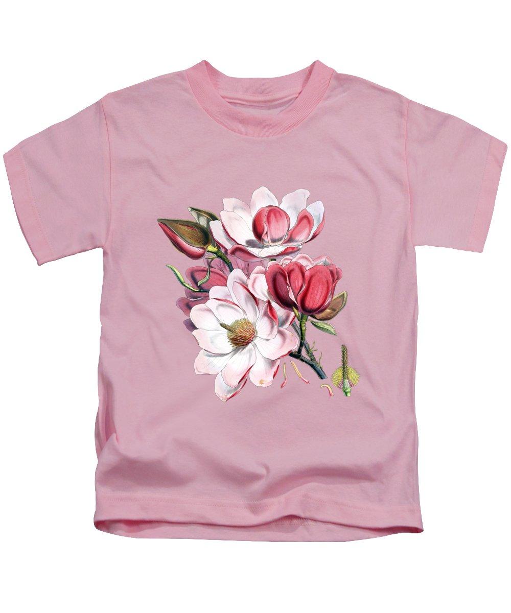 Magnolia Kids T-Shirt featuring the digital art Magnolia by Madame Memento