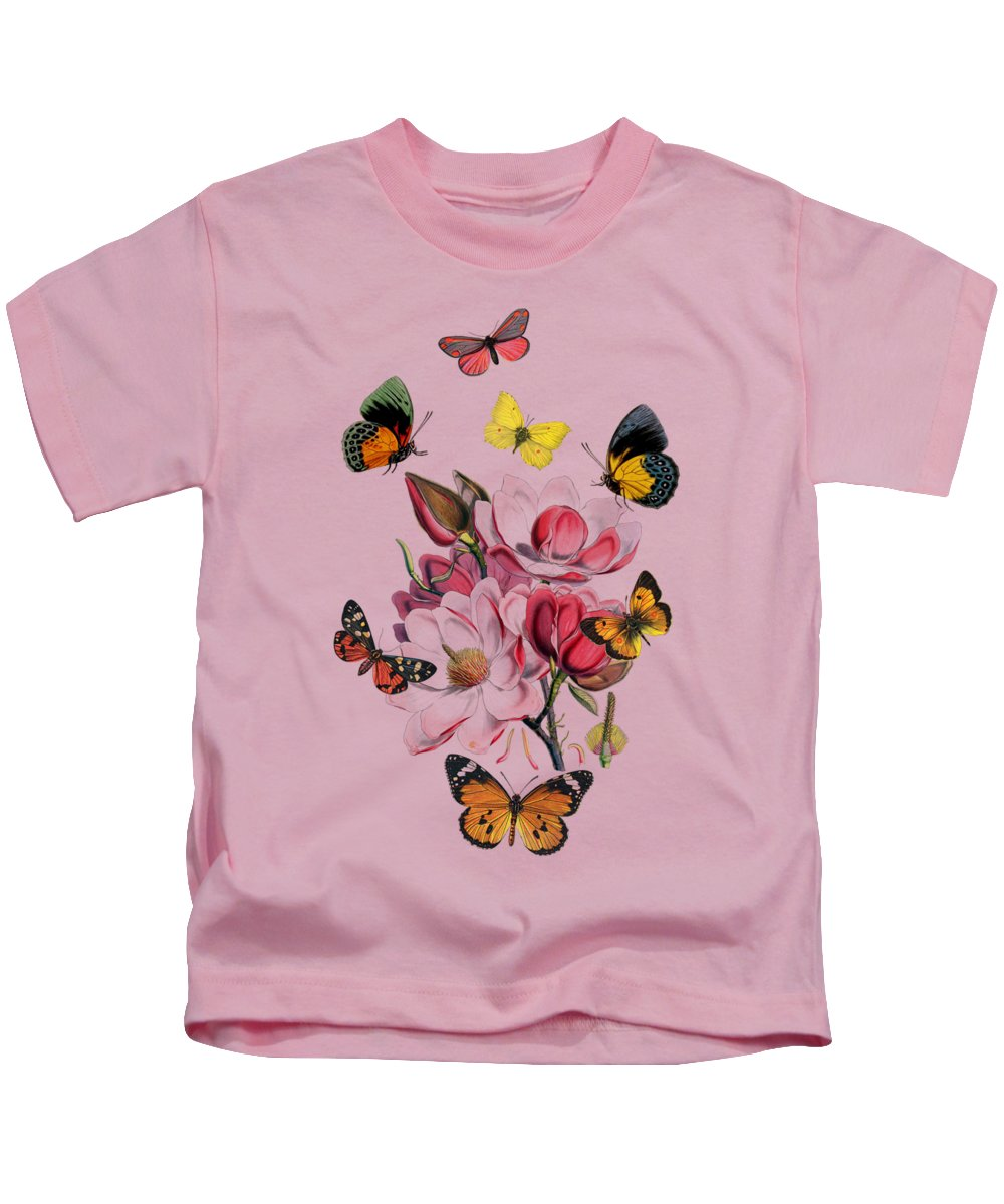Magnolia Kids T-Shirt featuring the digital art Magnolia with butterflies by Madame Memento