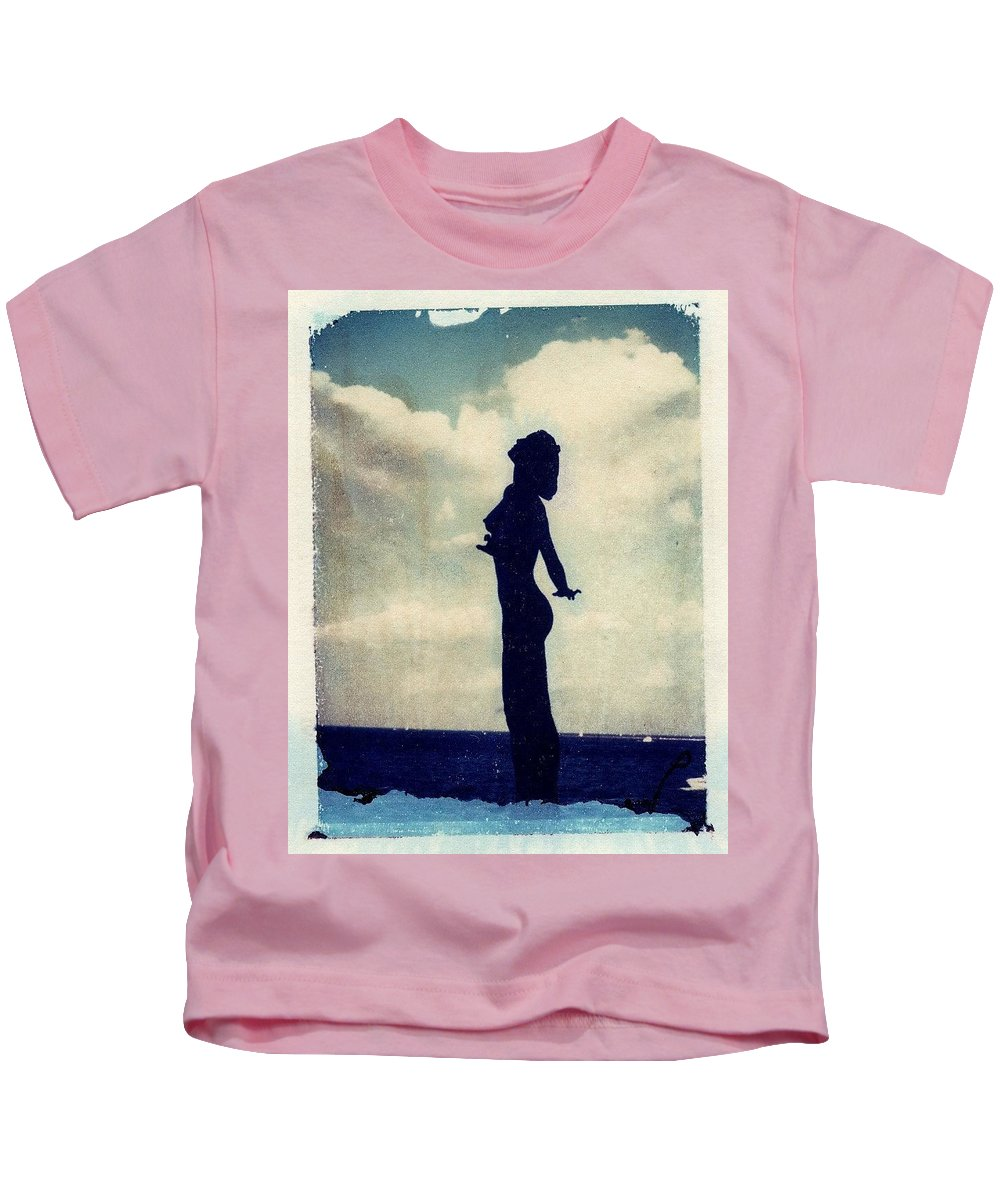 Woman Kids T-Shirt featuring the photograph Polaroid Transfer Woman by Jane Linders