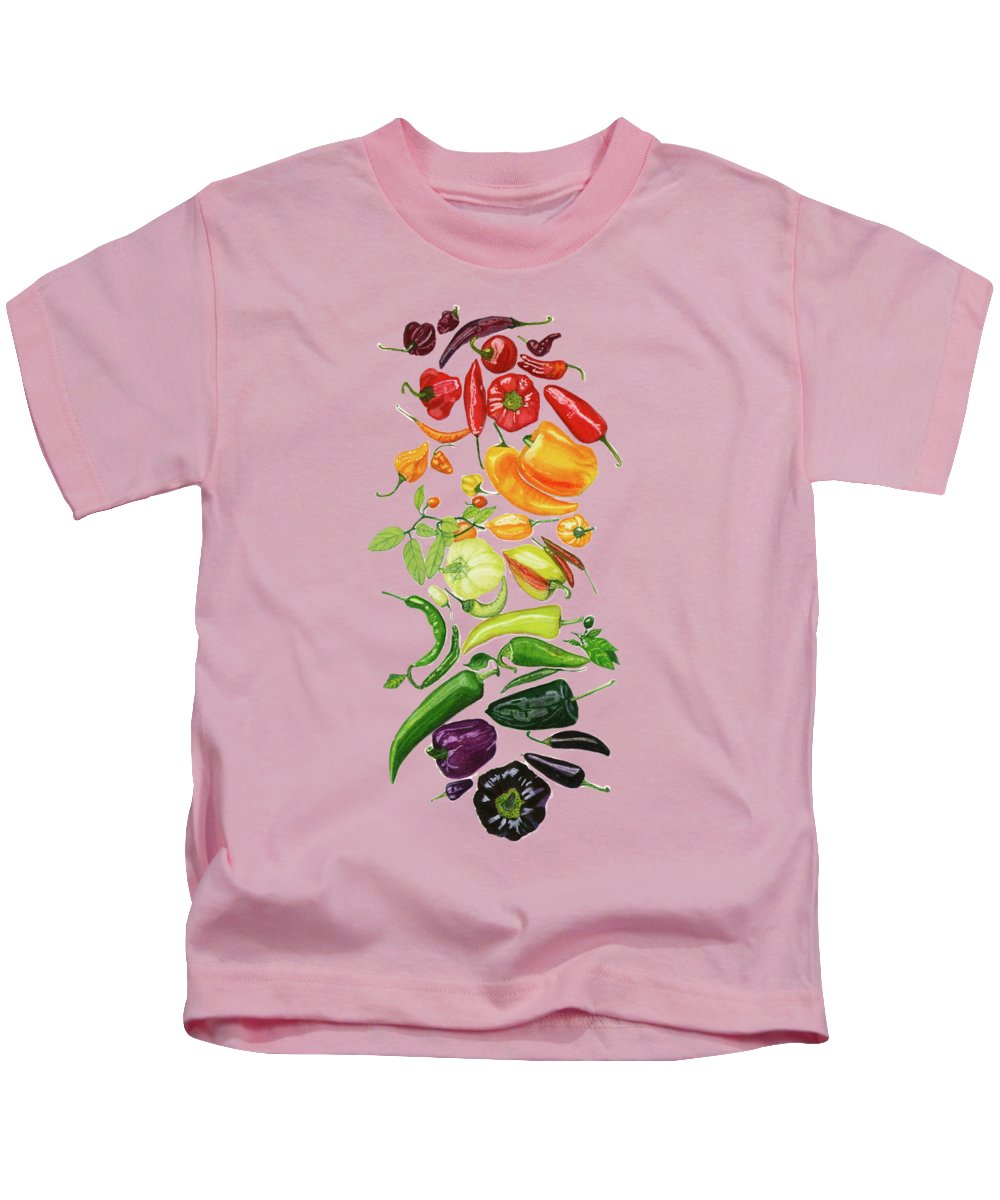 Vegetables Kids T-Shirt featuring the painting Rainbow Of Peppers Watercolor Art Print by Deborah League