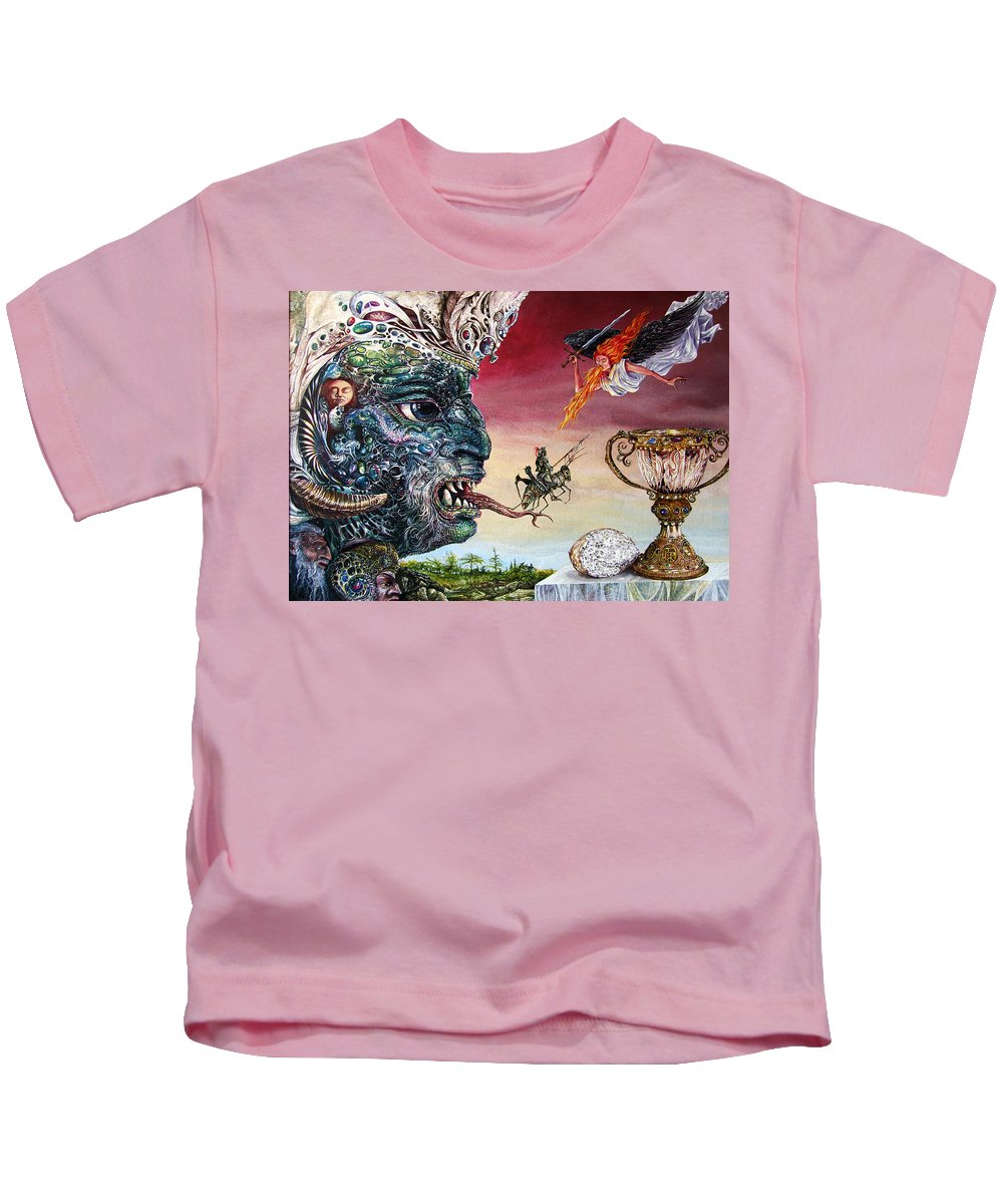 Surrealism Kids T-Shirt featuring the painting Revelation 20 by Otto Rapp