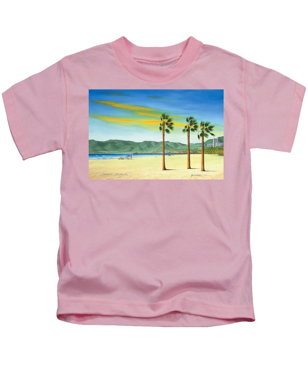 Santa Monica Kids T-Shirt featuring the painting Santa Monica by Jerome Stumphauzer