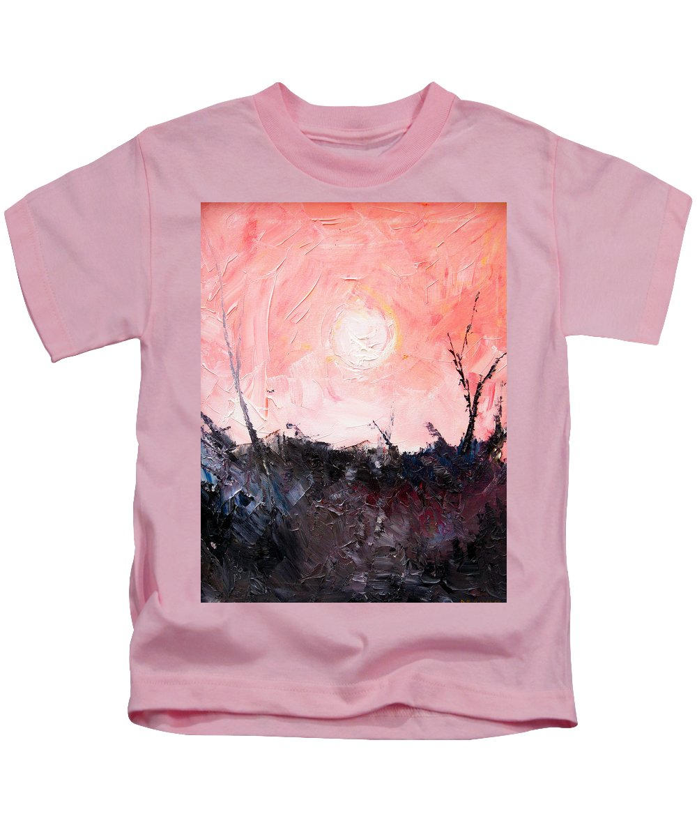 Duck Kids T-Shirt featuring the painting White Sun by Sergey Bezhinets