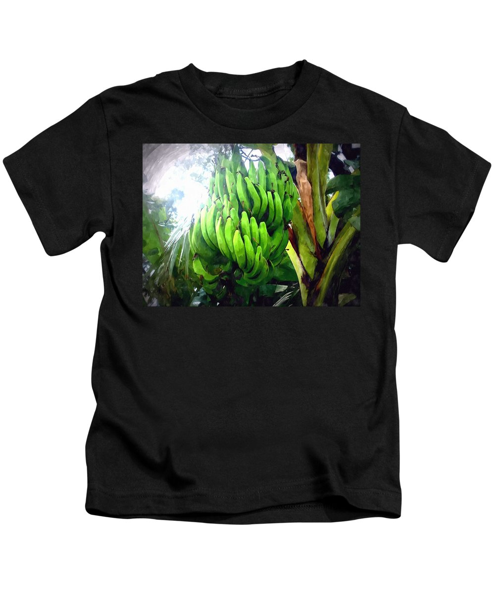 Banana Kids T-Shirt featuring the painting Banana Plants by Jeelan Clark