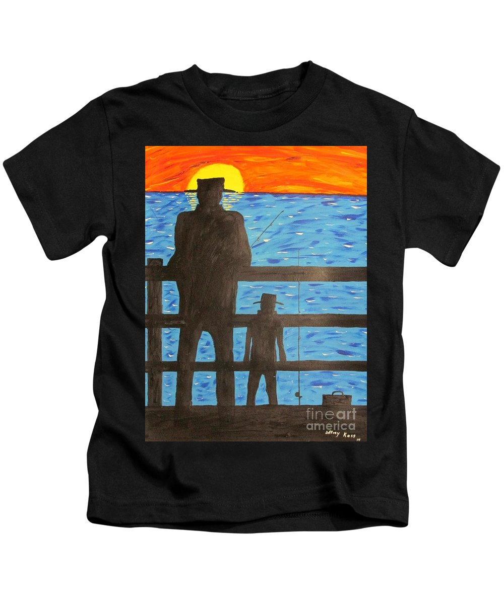 Pier Kids T-Shirt featuring the painting Father And Son Fishing by Jeffrey Koss