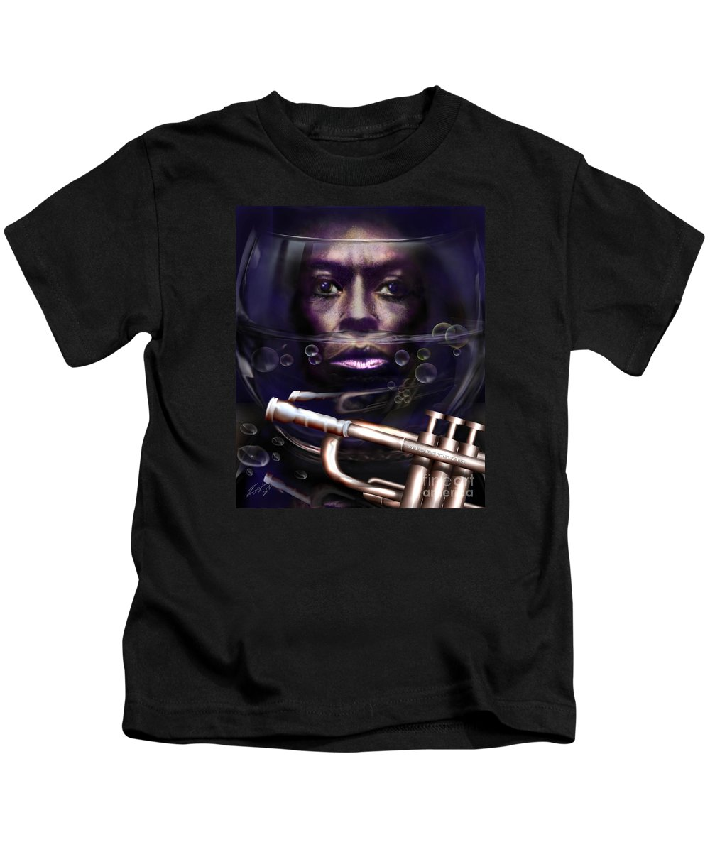 Miles Davis Kids T-Shirt featuring the painting Fish Bowl Of Miles by Reggie Duffie