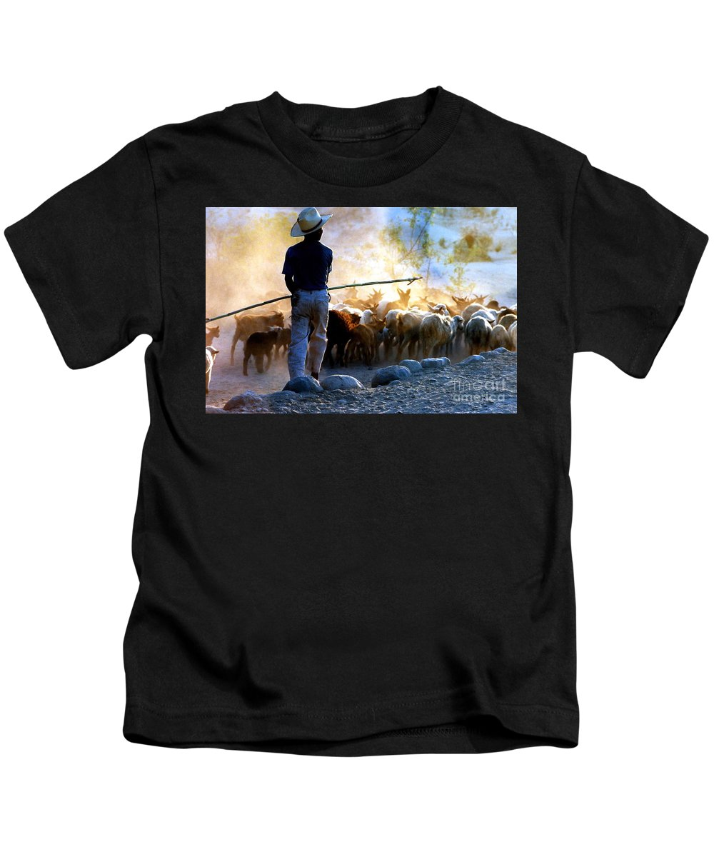 Rocks Kids T-Shirt featuring the photograph Herder Going Home In Mexico by Phyllis Kaltenbach