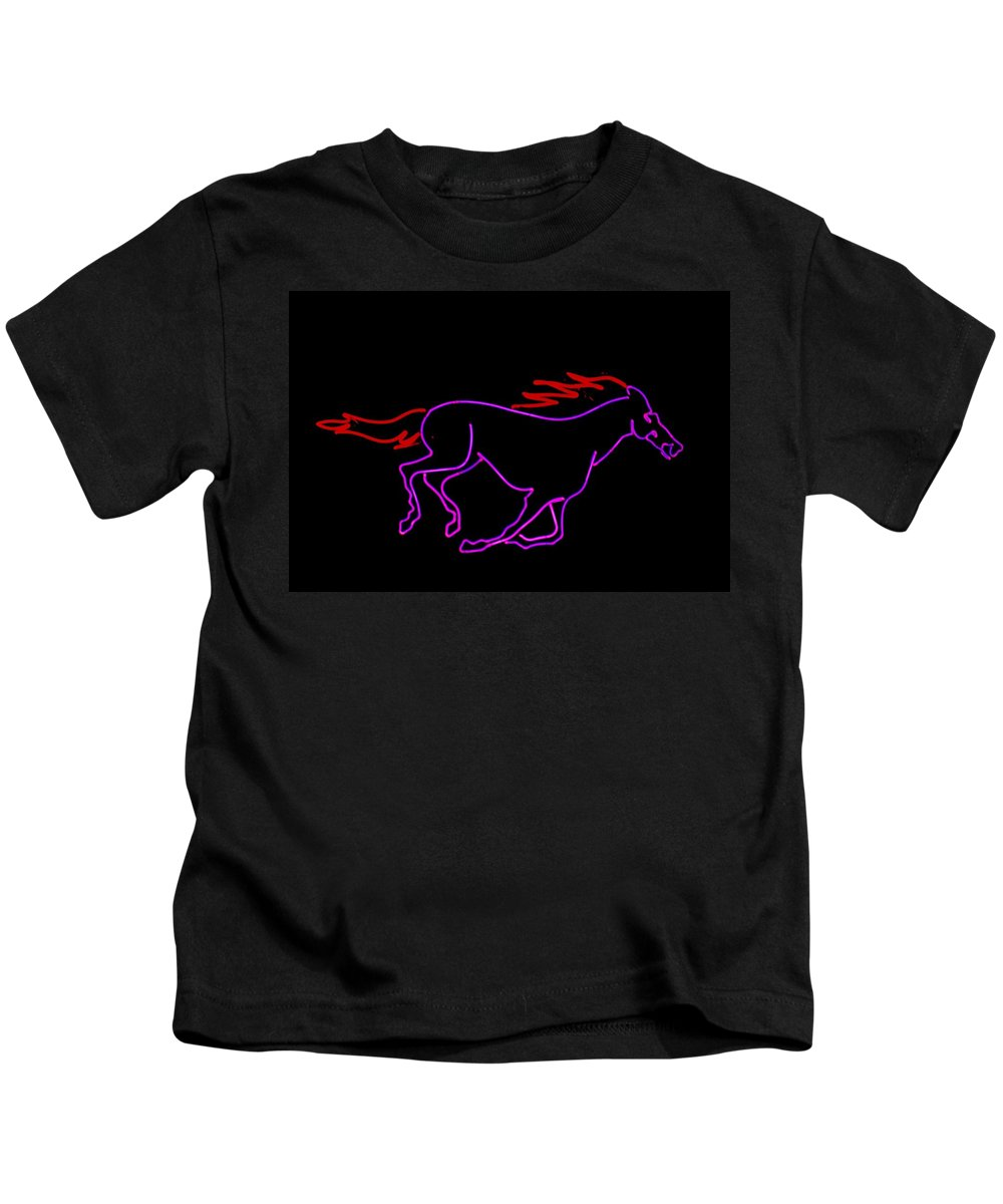 Horse Kids T-Shirt featuring the sculpture Horse Running by Pacifico Palumbo
