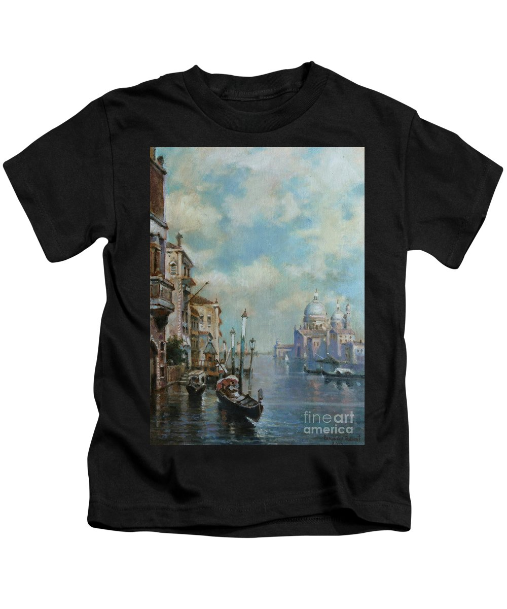 Urban Landscape Kids T-Shirt featuring the painting Venice At Noon by Robert Braginsky