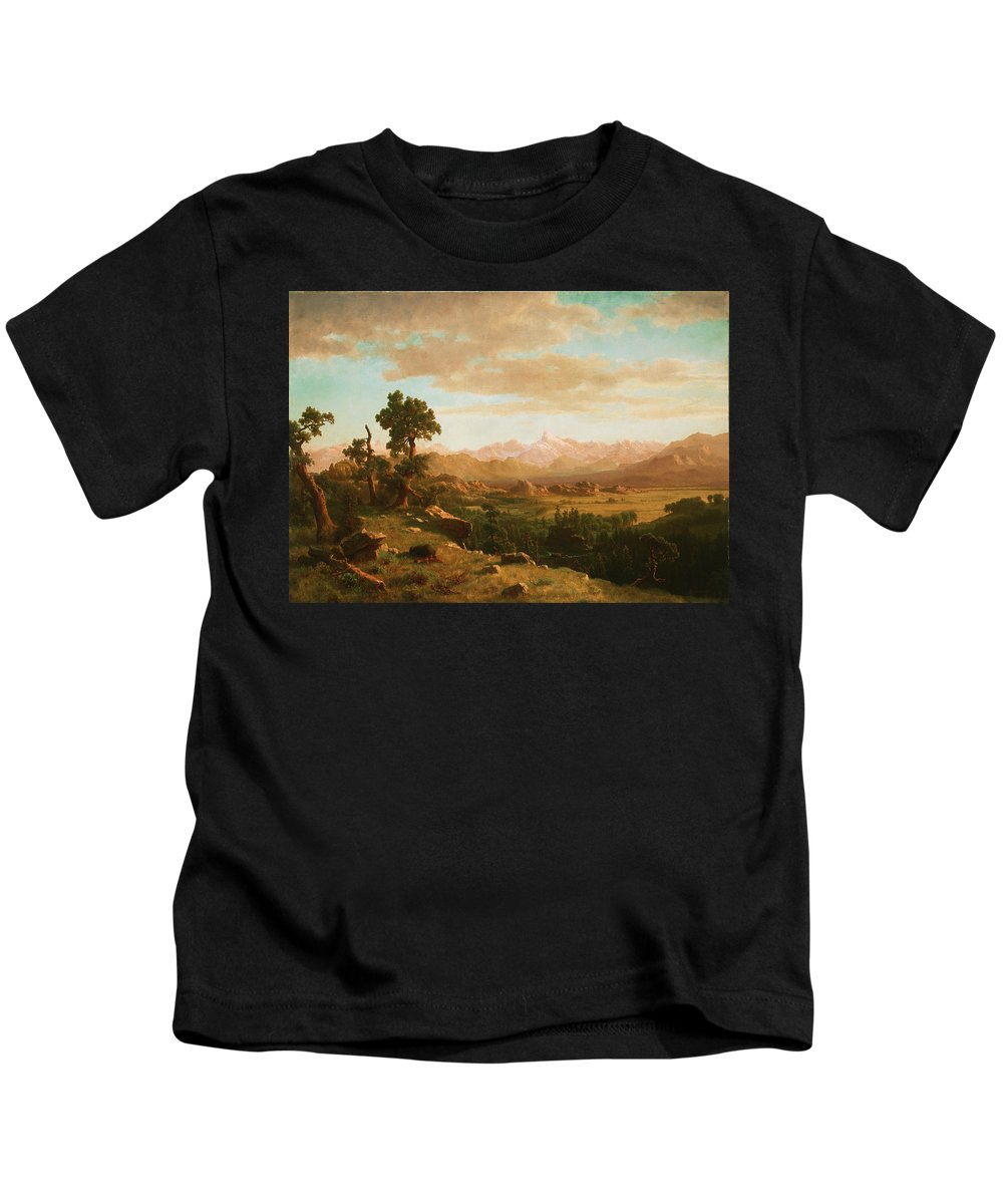 Albert Bierstadt Kids T-Shirt featuring the painting Wind River Country by Albert Bierstadt
