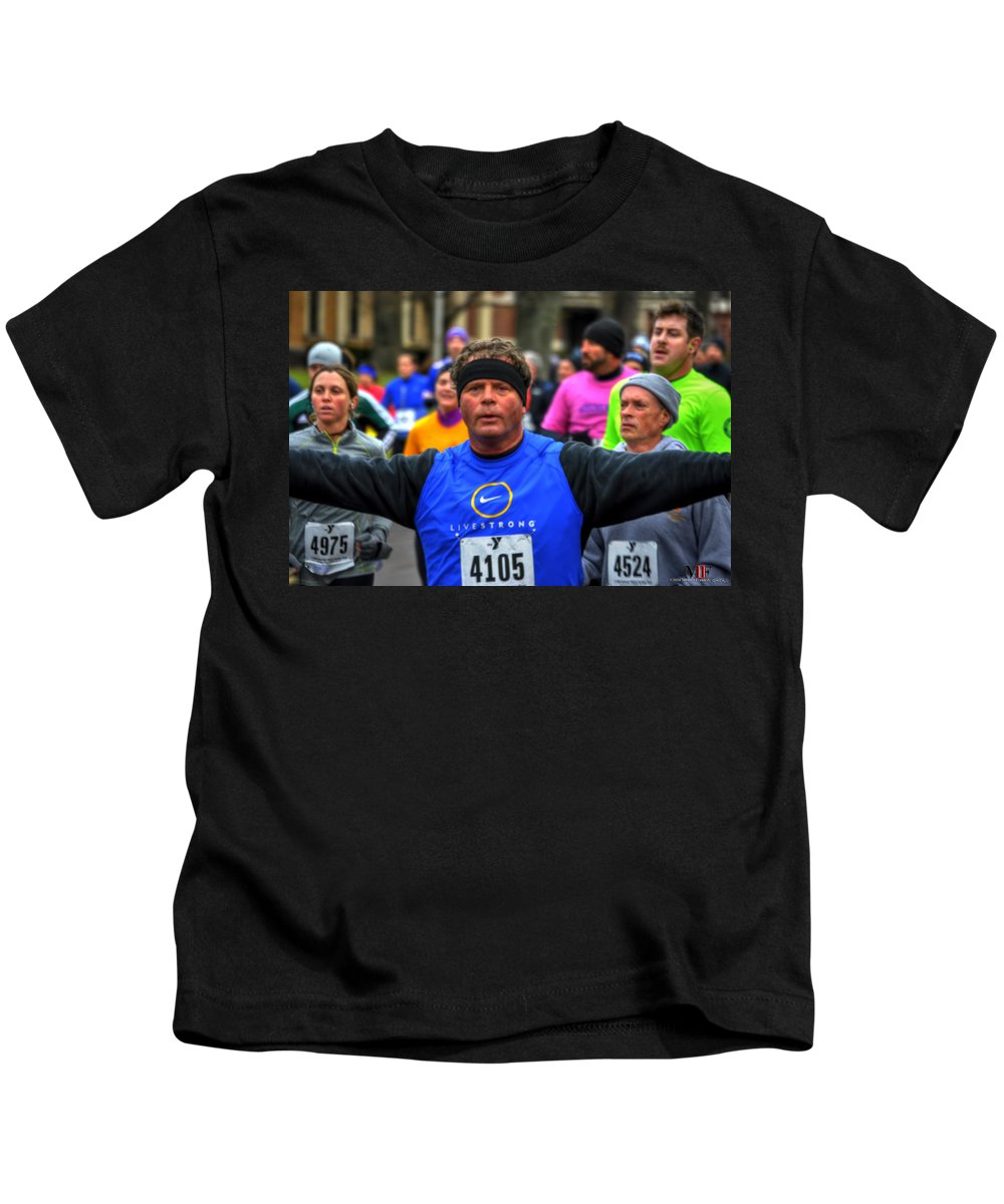 Michael Frank Jr Kids T-Shirt featuring the photograph 0010 Turkey Trot 2014 by Michael Frank Jr