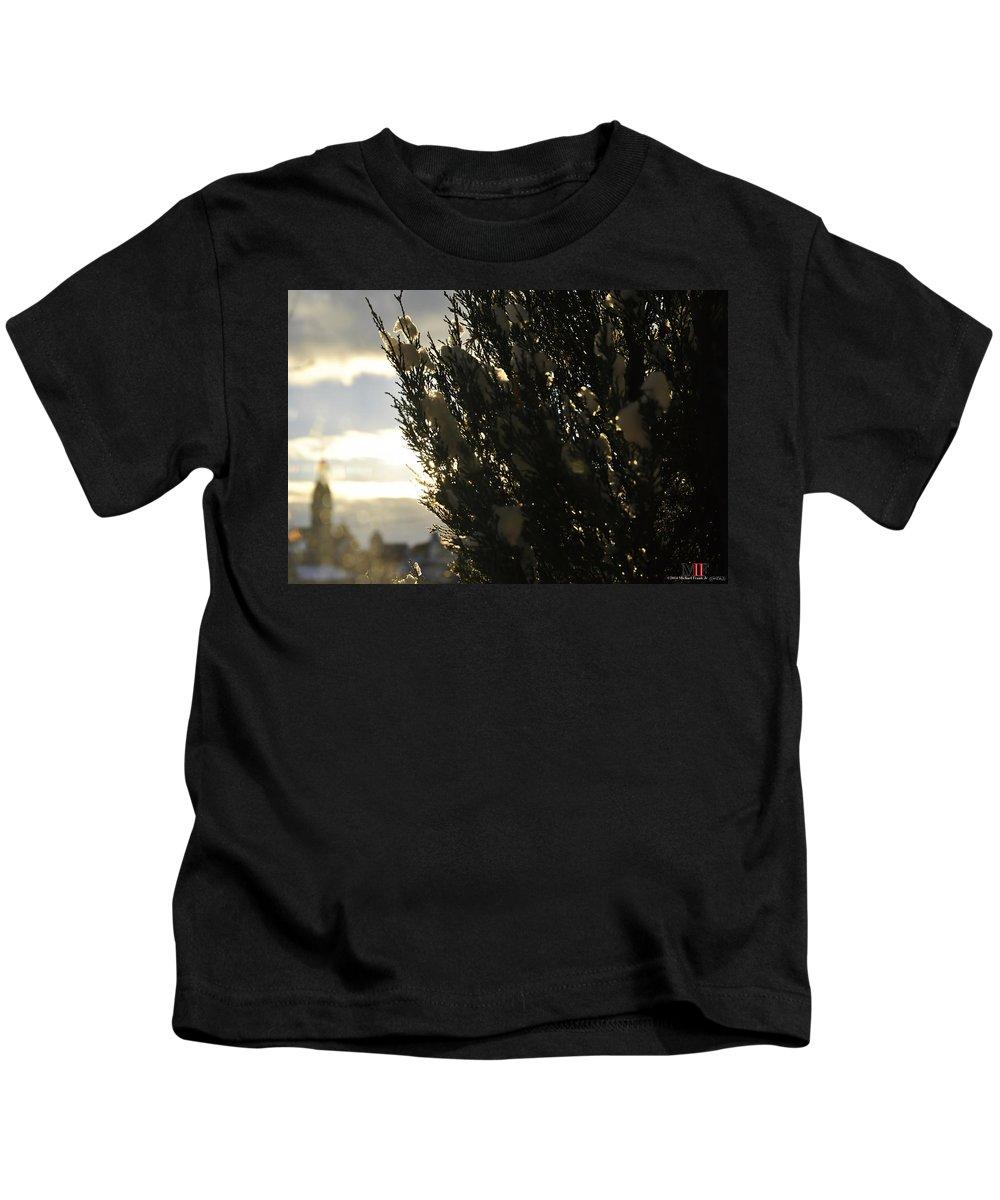 Michael Frank Jr Kids T-Shirt featuring the photograph 006 Peaking Winter Sunrise by Michael Frank Jr