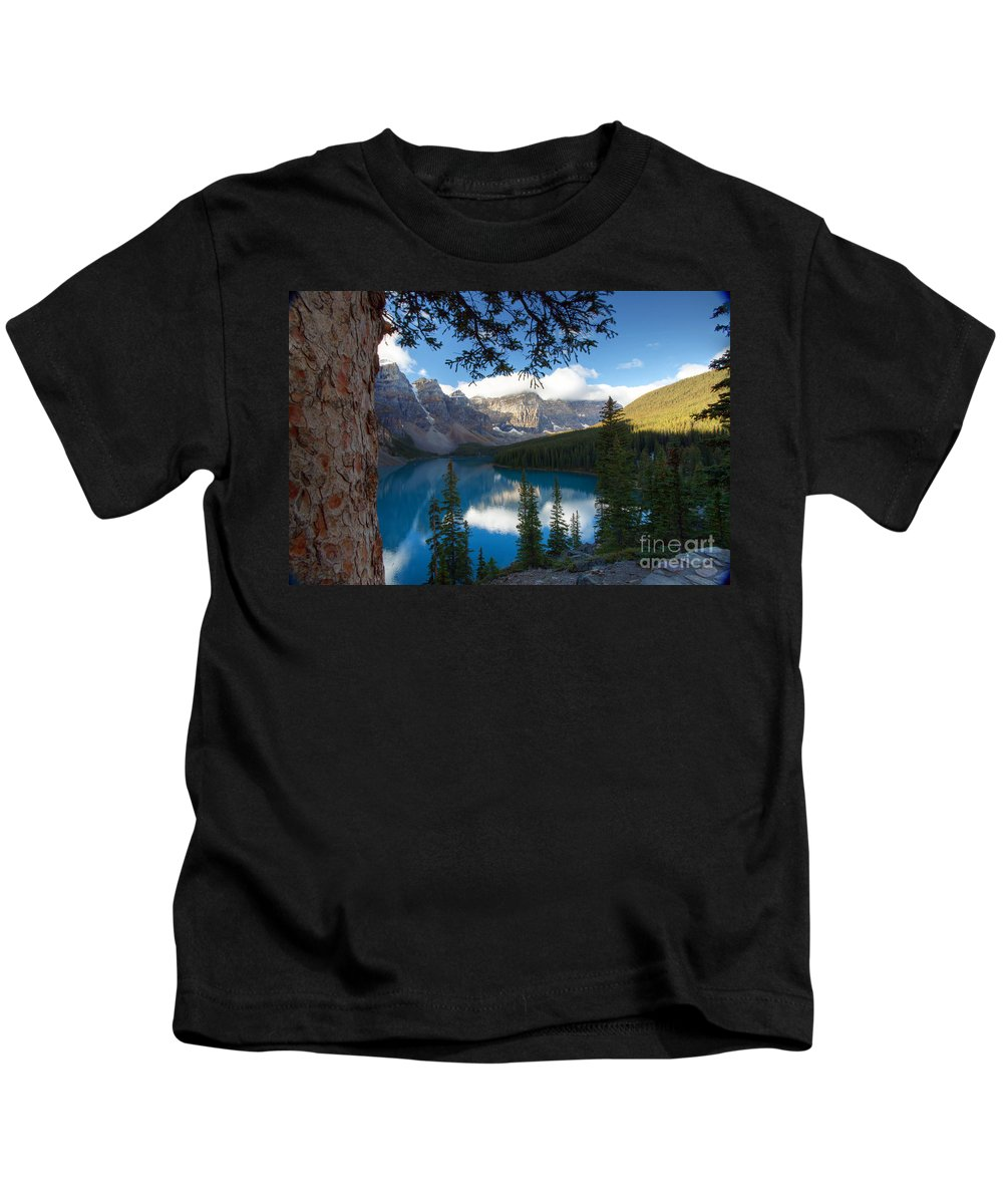 Moraine Kids T-Shirt featuring the photograph 0164 Moraine Lake by Steve Sturgill