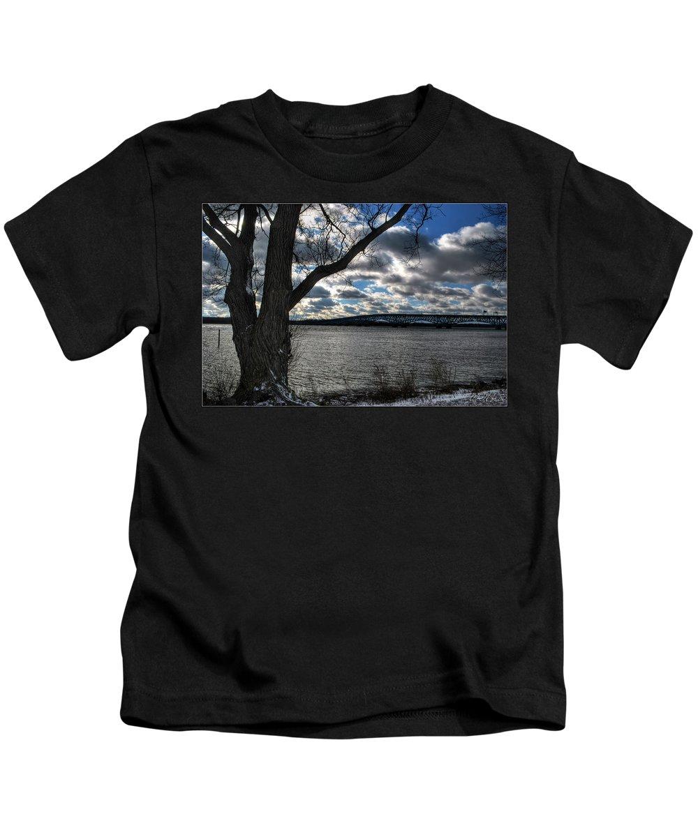 Kids T-Shirt featuring the photograph 002 Grand Island Bridge Series by Michael Frank Jr