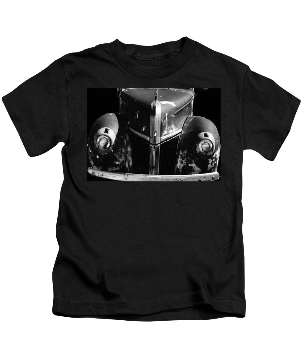 1940s Ford Grill Kids T-Shirt featuring the photograph 1940s Ford Grill by Cathy Anderson