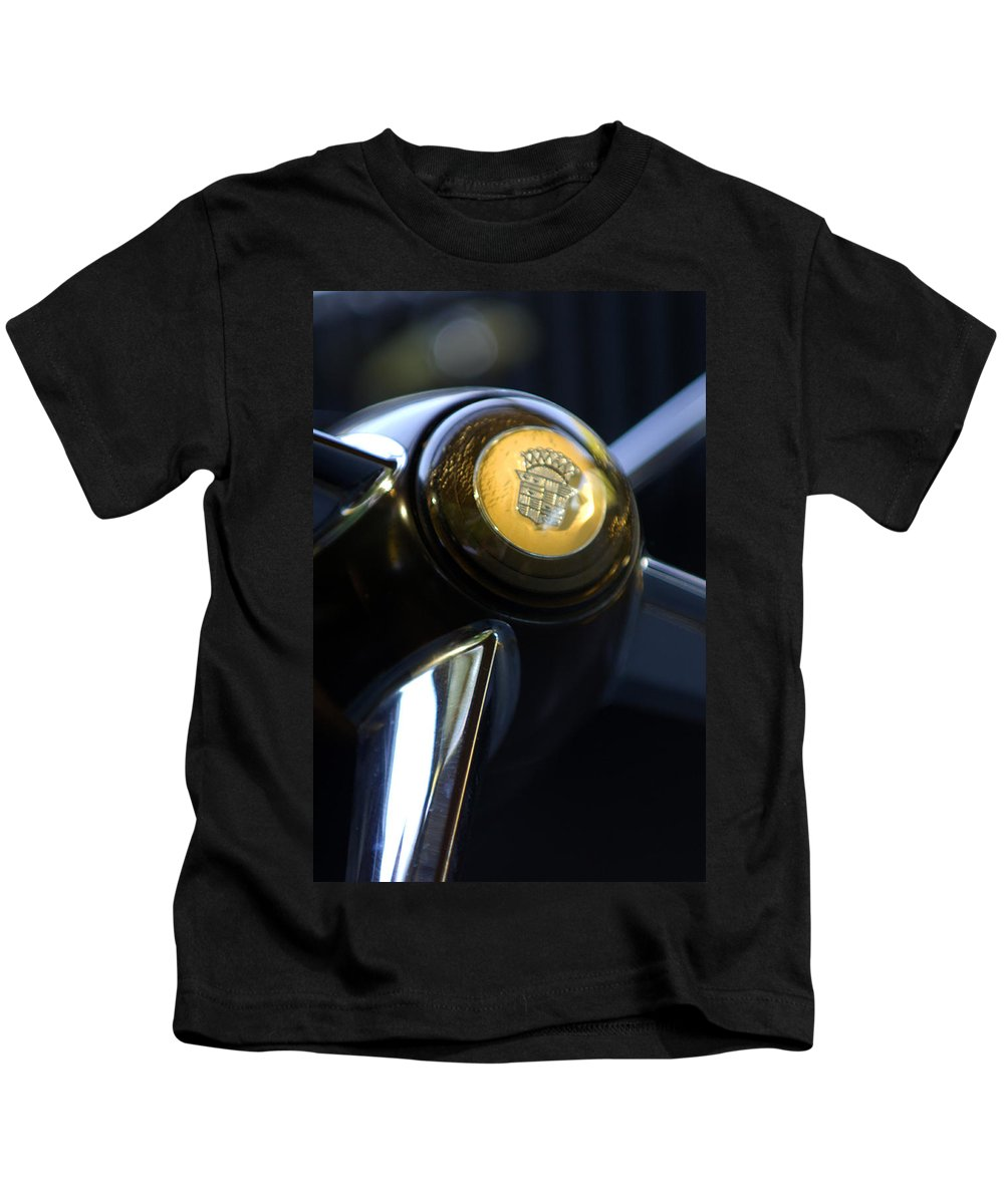 1947 Cadillac Model 62 Coupe Steering Wheel Kids T-Shirt featuring the photograph 1947 Cadillac Model 62 Coupe Steering Wheel by Jill Reger