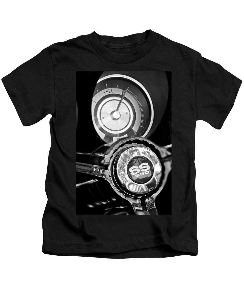 1967 Chevrolet Camaro Ss Steering Wheel Emblem Kids T-Shirt featuring the photograph 1967 Chevrolet Camaro Ss Steering Wheel Emblem Emblem by Jill Reger