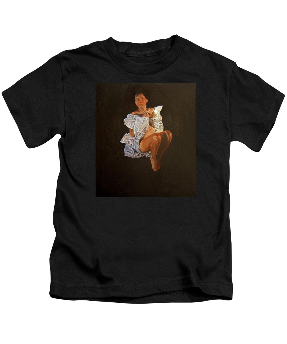 Semi-nude Kids T-Shirt featuring the painting 1 30 Am by Thu Nguyen