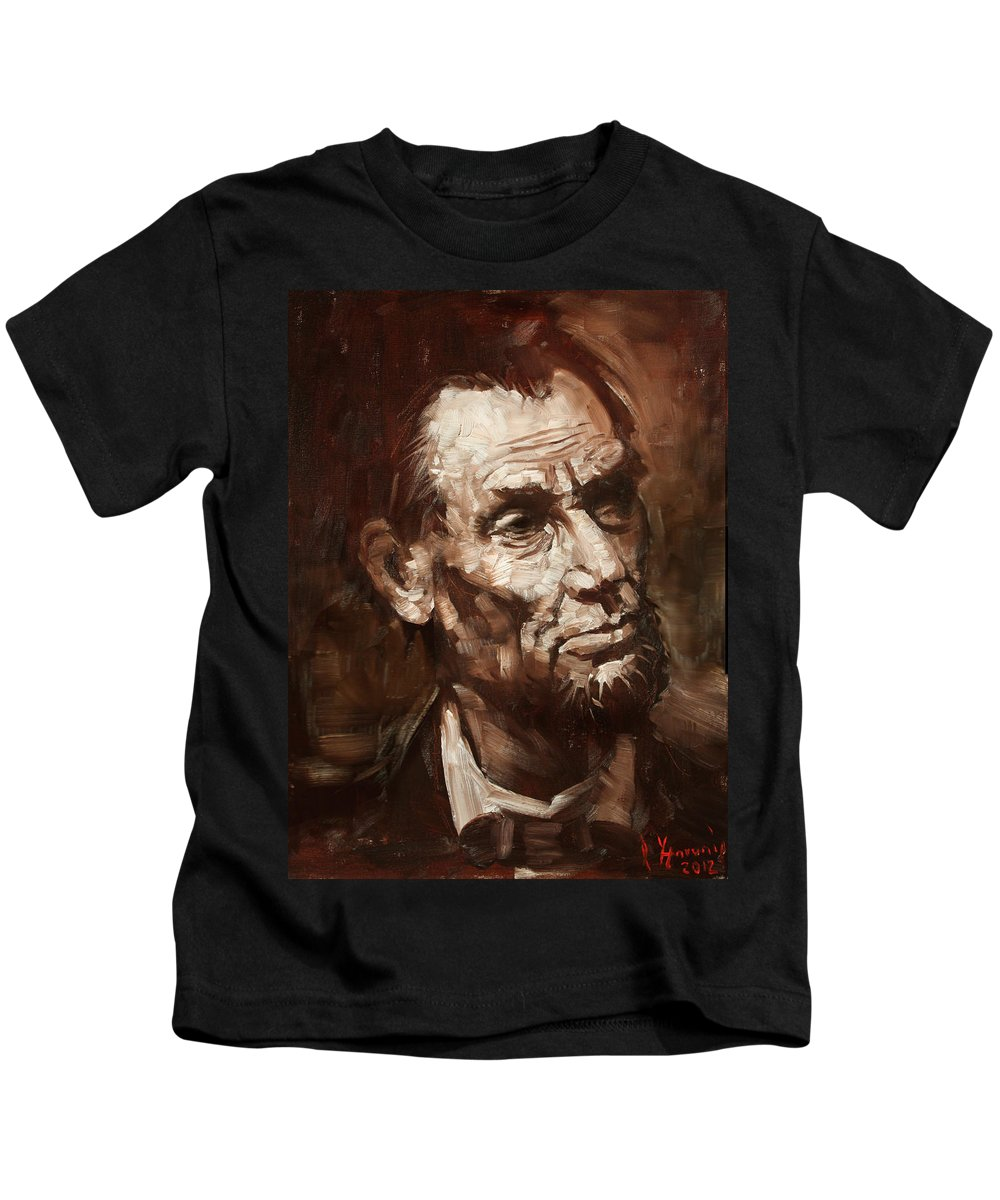Abraham Lincoln Kids T-Shirt featuring the painting Abraham Lincoln by Ylli Haruni