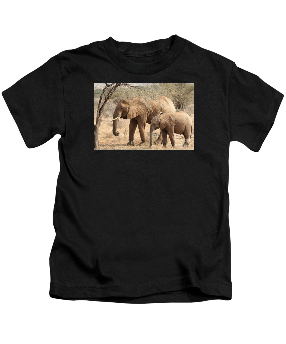 African Elephant Kids T-Shirt featuring the photograph African Elephant Mother And Calf by Liz Leyden